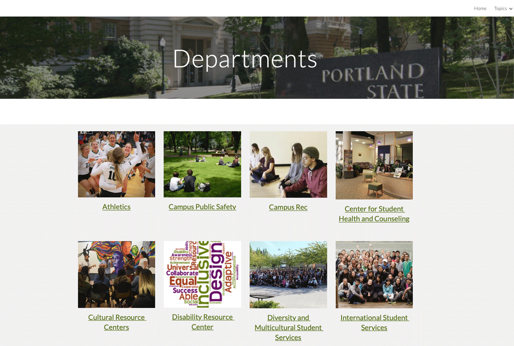 All Departments Page