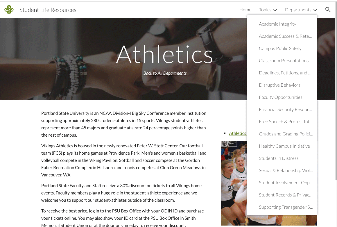 Athletics page