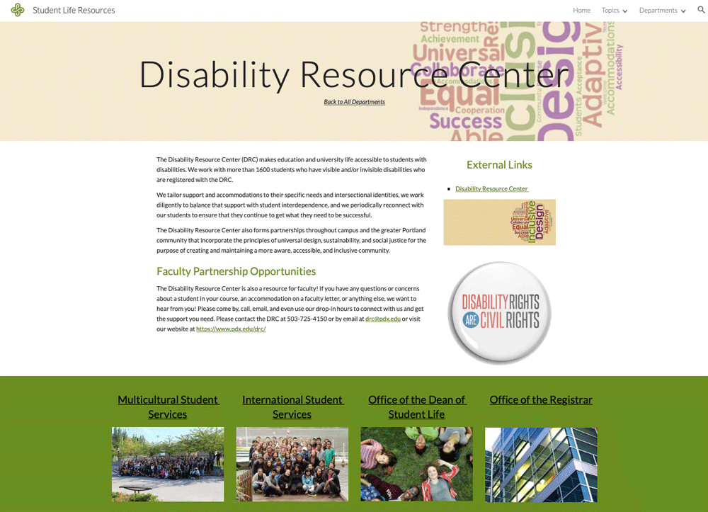 Disability Resource Center Page
